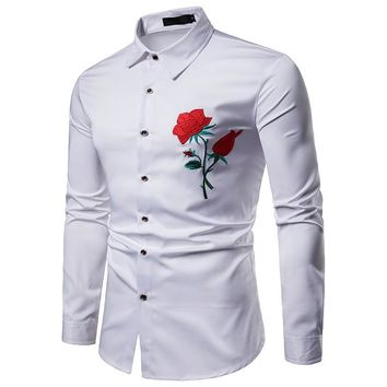 2018 New Business Men Dress Shirts Clothing Casual Men Shirt Slim Fit Long-Sleeve Shirts Letter Turn-down Collar Plus Size