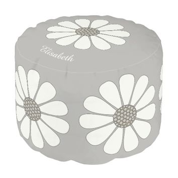 Daisies floral patterns personalize pouf