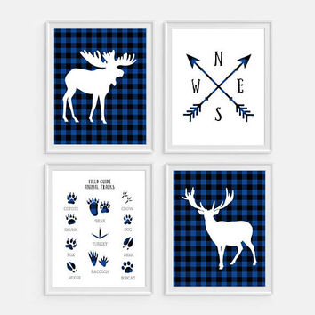 Woodland Nursery, Blue Nursery, Animal Tracks Art, Deer Wall Art, Compass Art, Set of 4, Plaid Decor, Boys Room Decor, Woodland Prints