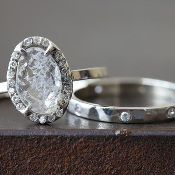 Natural Clear-White Diamond Slice Ring with Pave Halo