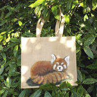 Red Panda Bag - hand-painted Hessian or burlap shopping bag with an original painting of a red panda. Proceeds donated to children's charity