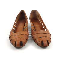 Leather Wedge Sandals Vintage 1970s  Brown Leather Women's 8 1/2 M