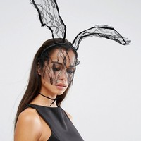 Johnny Loves Rosie Halloween Darcey Lace Bunny Veil Headband at asos.com