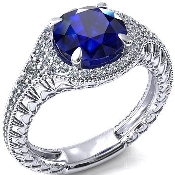 Kylee Round Blue Sapphire Accent Diamond Milgrain and Filigree Design 4 Prong Engagement Ring
