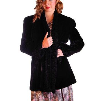 "Vintage Black Silk Velvet Evening Coat Trapunto Designs 1940S 42"" Bust"