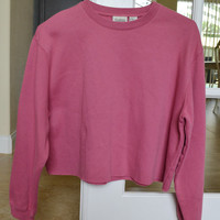 Light Pink Cropped Crewneck Sweatshirt Vintage 90s Oversized XL