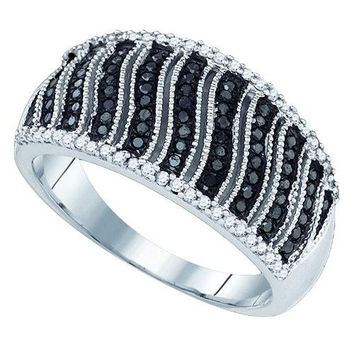 10K White-gold 0.40CTW BLACK DIAMOND MICRO-PAVE RING