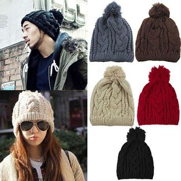 Hot Fashion Winter Warm Women's Men's Knit  Beanie Ball Wool Cuff Hat  Cap 7ESK