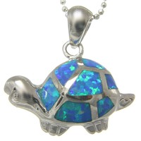 INLAY OPAL STERLING SILVER 925 HAWAIIAN TURTLE TORTOISE PENDANT HEAVY SMALL