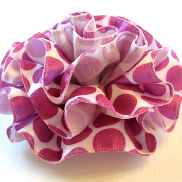 Ruffled Fabric Flower Pin, Fascinator, Hair Clip, or Hairband - Pink Purple and White Polka Dot