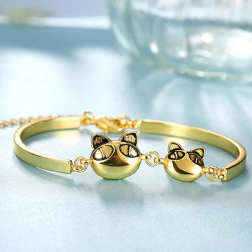 Gold plated Cute Cat Bracelet Women Fashion Jewelry Lucky Gift Fashion Bracelets Bangles