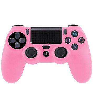 HOT New Promotion Pink Soft Silicone Rubber Gel Skin Case Cute Cover for PlayStation 4 PS4 Controller