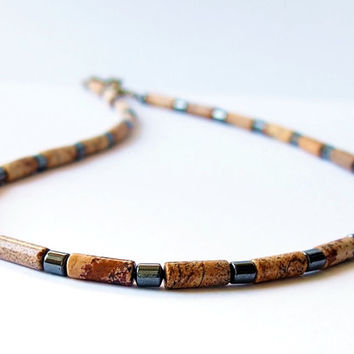 Mens Choker Beaded Surfer Necklace Natural Stones Jasper Hematite Unisex Jewelry Gift for Him Her