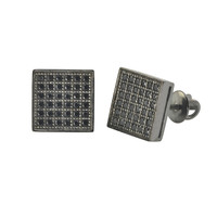 Micropave Stud Earrings 925 Sterling Silver Black CZ Cubic Zirconia Square 9mm