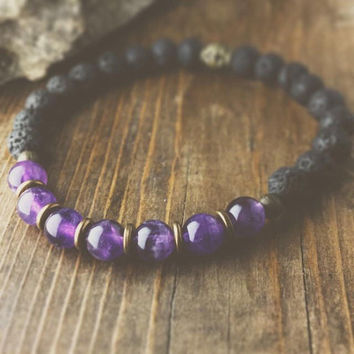 Lava Rock and Amethyst Bracelet - bohemian jewelry - boho jewelry - stackable bracelet - beaded bracelet - chakra jewelry - stretch bracelet