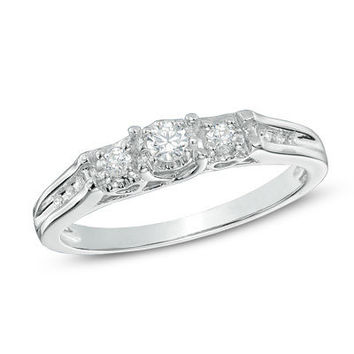 1/4 CT. T.W. Diamond Past Present Future® Promise Ring in 10K White Gold - Clearance - Zales