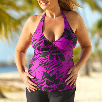 Purple Belize Plus Size V-Neck Tankini Top