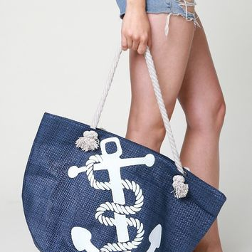 Anchor Printed Beach Bag