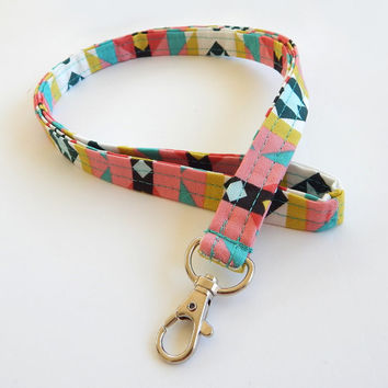 Tribal Lanyard / Tribal Print / Boho Keychain / Teal / Key Lanyard / ID Badge Holder / Fabric Lanyard / Bohemian / Coral / Colorful Tribal