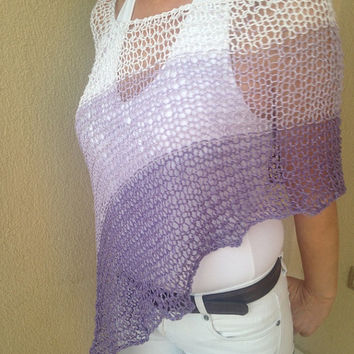 Cotton summer poncho , knitted summer top , lilac summer poncho  shawl scarf capelet top wrap ,women accessories , knit wear ,women wear ,