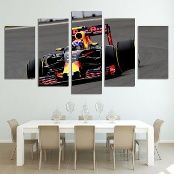 5 Panels F1 Cycle Racing Paintings Car Canvas Painting  Wall Art Prints Poster Home Decor Pictures For Living Room