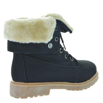 DREAM PAIRS LUGG Womens Winter Fur Lined Lace up Snow Ankle Durable Outsole Booties Boots