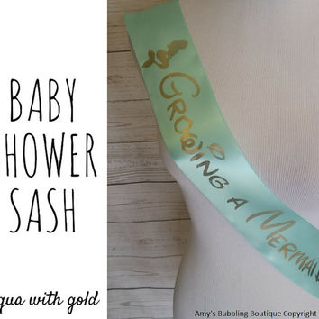 Growing a Mermaid Sash, Posh Aqua Baby Shower Sash for mommy to be to wear at Baby Shower or Baby Sprinkle, Comes with a Rhinestone Pin
