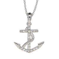 Dear Deer White Gold Plated Cute Crystal Anchor Pendant Necklace