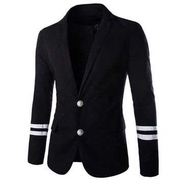 2015 New Arrival Top Suit Jacket For Men Fashion Metal Buckle Slim Fit Men Suits Blazer Patchwork Two Buttons Blazers Jacket