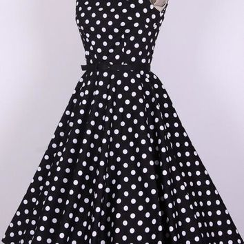 Prom Party Retro Print Boat Neck Vintage 50's 60's Women's Dress