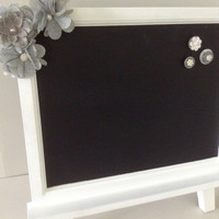 Chalkboard Magnet White Easel Table top easel frame board Country Chic Grey Burlap Flowers Wedding Nursery Party Home Decor