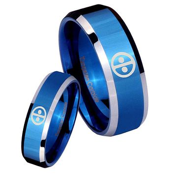 His Her Shiny Blue Bevel Dead Pool Two Tone Tungsten Wedding Rings Set