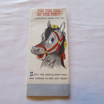 Vintage Pin The Tail On The Pony Birthday Game Card