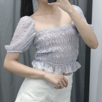 Square collar short-sleeved waist slim transparent organza loose top