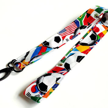 World Cup Soccer Lanyard Womens Soccer Fashion Accessories Fabric Lanyard Soccer Accessories Keys Lanyard ID or Badge Holder