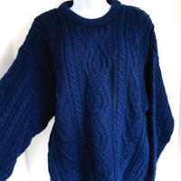Arancrafts Fisherman Sweater Navy Blue