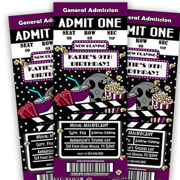 Purple Girls Movie Birthday Invitation - Movie Admission Ticket Invitations - Movie Night Party - Hollywood Party - Popcorn - Chalk Marquee
