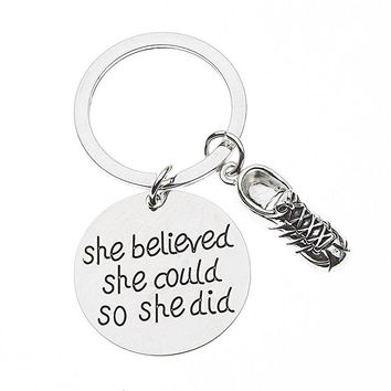Runner Keychain- She Believed She Could So She Did