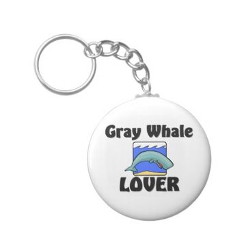 Gray Whale Lover Basic Round Button Keychain
