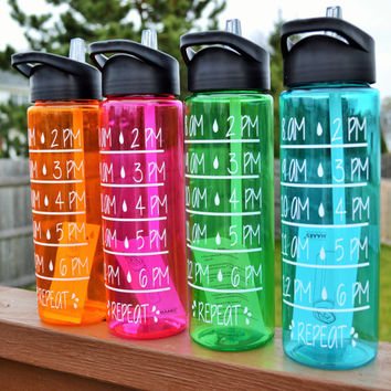 Motivational Water Bottle // Water Intake Tracker // 24 oz Plastic Bottle with Spout  // Add Name-Monogram-Saying // CUSTOM COLORS AVAILABLE