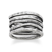 James Avery Stacked Hammered Ring - Sterling Silver 8