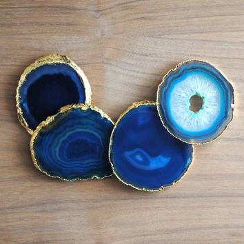 Agate Slice Coasters - Gold Plated Edging, Agate Coaster Set, Geode Coasters, Blue Agate Slices