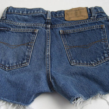 Vintage Jordache Blue Jean Denim Shorts Cut Offs Distressed Grunge Festival 28""