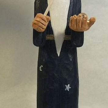Handmade Wizard with Magic Wand and Crystal Ball Unique Gift Art Sculpture Wood Carving by Claude's Woodcarving