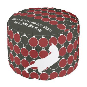 Red Christmas Ornament and Playful Cat Modern Chic Round Pouf