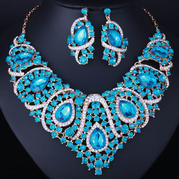 Low Price  Resin Crystal Necklace Drop Earrings for Women Wedding African beads Jewelry sets