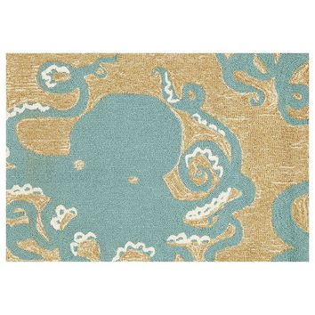 Trans Ocean Imports Liora Manne Frontporch Octopus Indoor Outdoor Rug (Blue)
