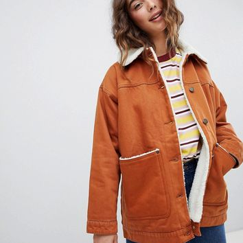 Monki Borg Denim Trucker Jacket In Brown | ASOS