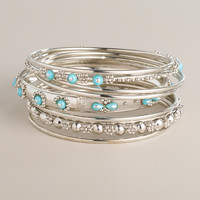 Silver and Turquoise Indian Bangle Bracelets, Set of 9 - World Market