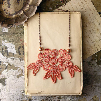 lace necklace - THEODOSIA - nectarine- statement necklace